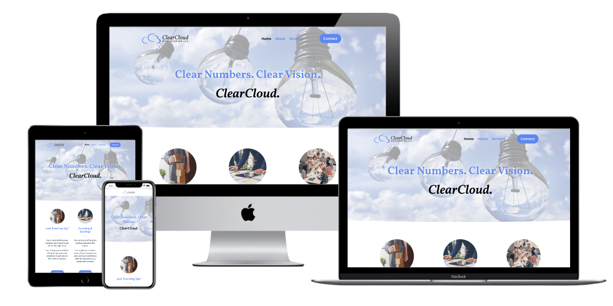 Mockup of website design for ClearCloud Bookkeeping