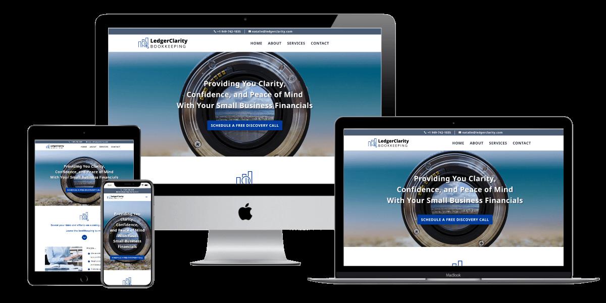 Mockup of website design for Ledger Clarity Bookkeeping