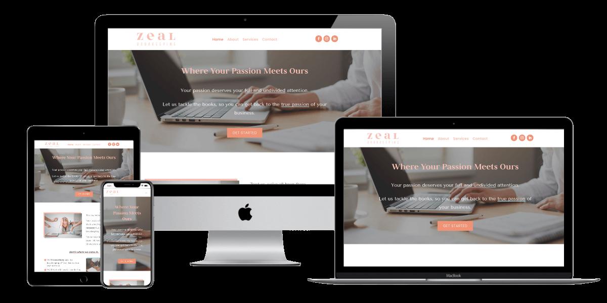 Mockup of website design for Zeal Bookkeeping